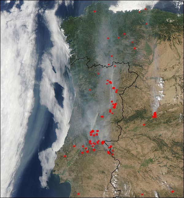 Waldbrände Portugal Karte.Arbeitsblatt 1
