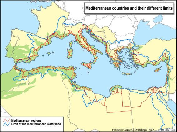 limits of the Mediterranean watershed