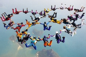 Skydivers - air is more than nothing