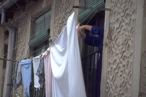 Clothes getting dry on a washing line