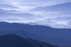 Blue haze over the great smoky mountains